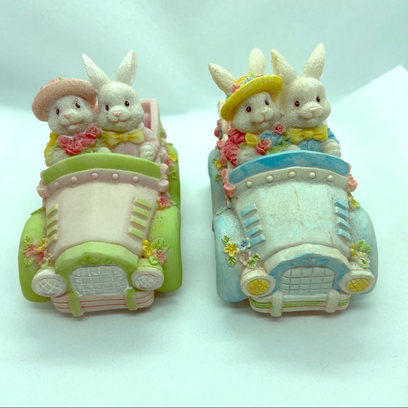 Vintage Other - Hermitage Pottery Bunnies in Cars - set of 2